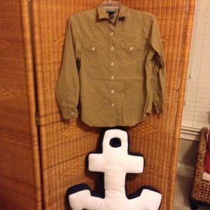 Lauren Ralph Lauren dk tan safari like shirt S VGC